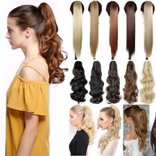 UK 100% Natural Remy Clip in Hair Extensions Claw on Ponytail Curly As Human LC6