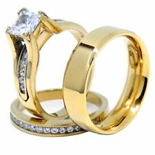 Couples Ring Set Womens 14K Gold Plated Princess CZ Engagement Ring Mens Gold Pl