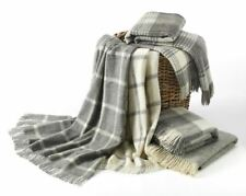 NATURAL COLLECTION - Windowpane Wool Throw/Blanket - Made by Bronte in Britain
