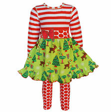 AnnLoren Girls Boutique Christmas Dress and Dot Legging Set Sz 12/18mo - 11/12