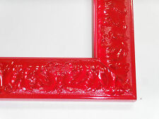 Small Apple Red Victorian Wood Ornate Picture Frame-Custom Square Sizes