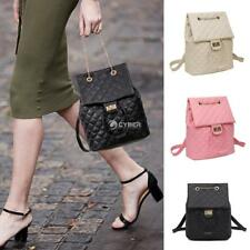 Fashion Women Soft Synthetic Leather Quilted Flap Drawstring Backpack DZ88