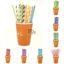 25pcs Biodegradable Paper Drinking Straws Striped Birthday Party Colorful TU