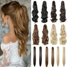Mega Thick Real Jaw/Claw On Ponytail Clip In As Human Hair Extensions Long Wavy