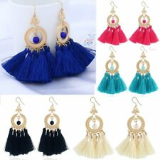 Boho Braided Fringe Bunch Tassels Beaded Dangle Hook Earrings Women Jewelry Gift