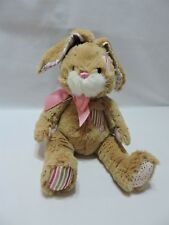 """Ganz Bunny Rabbit Plush Stuffed Animal Toy 12"""" Penny Patches Soft Brown Pink"""