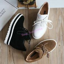Women Round Toe High Top Shoes Lace Up New Wedge Platform Casual Ankle Boots Hot