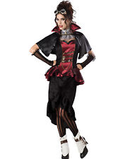 Steampunk Vampiress Victorian Gothic Womens Edwardian Halloween Costume M-XL