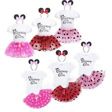 Infant Girls Dress Romper Tutu Skirt Headband Birthday Outfit 1st Party 3pcs Set