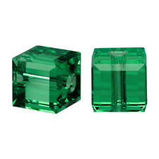 Swarovski Crystal, #5601 Cube Beads 6mm, 4 Pieces, Emerald Green