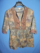 Coldwater Creek M Brown Blue Paisley Tunic Shirt 3/4 Sleeve V Neck Peasant Top