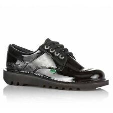 Kickers KICK LO PATENT Ladies Womens Smooth Patent Leather Lace Up Shoes Black