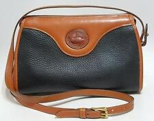 DOONEY & BOURKE VINTAGE DB BLACK ALL WEATHER LEATHER CROSSBODY HANDBAG BAG