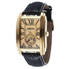 HOT Stylish Skeleton Automatic Mechanical Mens Watch Rectangle Dial Leather Band