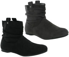 Fashion Ankle Pull On Flat Casual Pixie Style Boots Warm Lined Womens UK 3-8