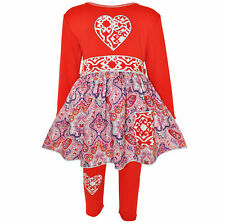 AnnLoren Girls Boutique Red Heart Knit Dress with Legging Set 12/18 mo - 11/12