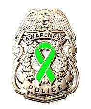 Lime Awareness Ribbon Pin Police Badge Security Sheriff Cancer Causes Silver New