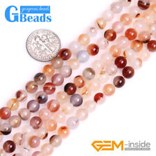 Natural Red Sardonyx Stripe Agate Gemstone Round Beads For Jewelry Making 15""
