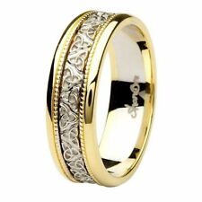 Claddagh Celtic Design 14K Yellow & White Gold 7mm Heavy Wedding Ring Band br8yw