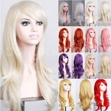 New Restyle Cosplay Wig Heat Resistant Long Curly Wavy Layer Full Wig Pink Red s