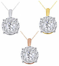 0.25 Ct Round Cut Natural Diamond Flower Cluster Pendant Necklace In 14K Gold