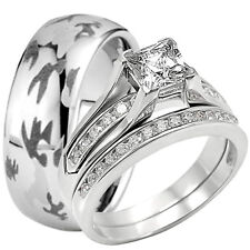Camouflage Tungsten Camo Band and Solid 925 Sterling Silver CZ Wedding Ring Set