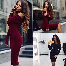 Chic Women Off Shoulder Long Sleeve Slim Jumper Sweater Top Party Bodycon Dress