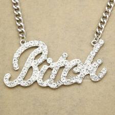 Celebrity Bling Bitch Word Austria Crystal Pave Chunky Chain Necklace Hip Hop H