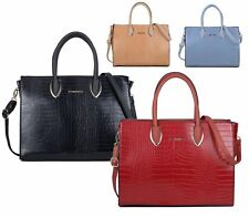 WOMENS HANDBAG FAUX LEATHER OFFICE CROCODILE OFFICE TOTE SHOPPER SHOULDER BAG
