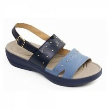 Padders CAMEO Ladies Womens Leather Extra Wide Fit (2E) Slingback Sandals Navy