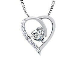 Heart Pendent Necklace 14k White Gold Over Sterling Silver