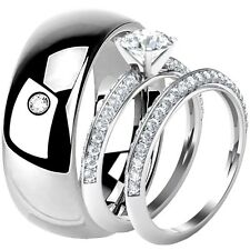925 Sterling Silver Engagement Round Cut Clear CZ Wedding Ring Set Tungsten Band