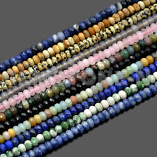 """Faceted 4x6mm & 5x8mm Natural Gemstone Rondelle Spacer Loose Beads Strand 15.5"""""""