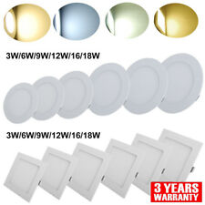 3W 6W 9W 12W 18W Dimmable LED Recessed Ceiling Panel Light, Lamp Flat Fixtures