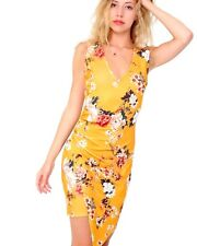 Womens Asymmetric Ruched Wrap Over Bodycon Dress Floral Sexy Party VNeck Dresses