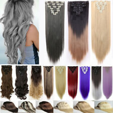 "Long 17-26""Clip In Hair Extensions Mega Thick Remy Hair Extension Brown Blond TE"