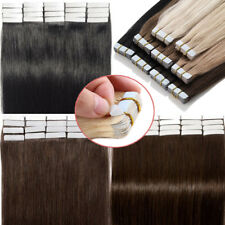 20/40/60PC 100% TAPE IN Real Human Hair Extensions Brazilian Skin Weft Remy Hair