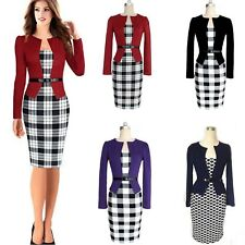 Womens Knee Length Wiggle Office Business Belted Party Dress AU sz 6-18