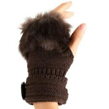 Fashion Winter Warm Women Button Faux Fur Knit Crochet Fingerless Gloves TXCL