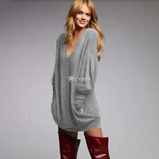 Stylish Women Casual V Neck Long Sleeve Loose Solid Leisure Top Blouse DZ88