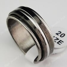 New 30pcs Double Layer Spin Black 316L Stainless steel Mens Rings Wholesale Lots
