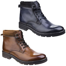 Base London Panzer Washed Leather Lace Up Ankle Work Look Boots