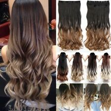 Full Head Clip in Hair Extensions Ombre Dip Dye One Piece Wavy Curly Straight L8