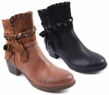 WOMENS FAUX LEATHER / SUEDE MID BLOCK HEELS ROUND TOE WEAVED ZIP UP ANKLE BOOTS