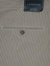 NWT LANDS' END Mens TAN & White SEERSUCKER Striped COTTON SHORTS Size 40 NEW