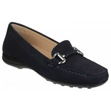 GEOX EURO Ladies Womens Leather Stylish Comfortable Moccasin Shoes Dark Navy