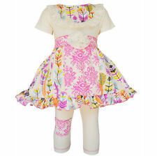 AnnLoren Girls Pink Feather & Damask Panel Dress and Capri Outfit sz 2/3T-11/12