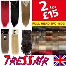 Curly Straight  Hair Extensions Full Head Black Brown Blonde Red Real Long