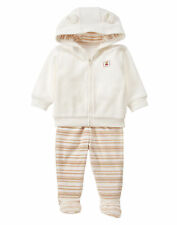 NWT Gymboree Girls Bear Fleece Hoodie Footed Pants Outfit 0-3-6-9 M Boy Girl