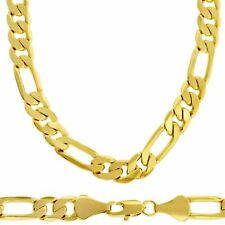 Men's Luxury 18k Gold Plated 6mm Bling Solid Figaro Chain Necklace